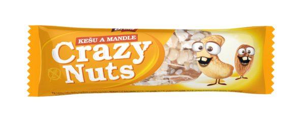 Crazy Nuts tyčinka s kešu a mandlemi 30 g pro bezlepkovou dietu, celiaky.