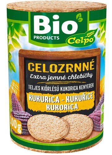BIO celozrnné kukuřičné chlebíčky bez lepku Celpo 100 g pro bezlepkovou dietu, celiaky.