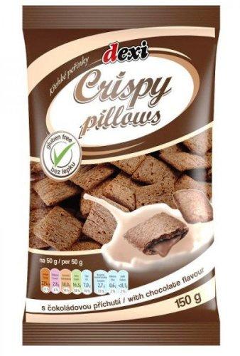 Crispy pillows křehké peřinky s čokoládou bezlepkové pro bezlepkovou dietu, celiaky - výborné trvanlivé pečivo, extrudovaný výrobek.
