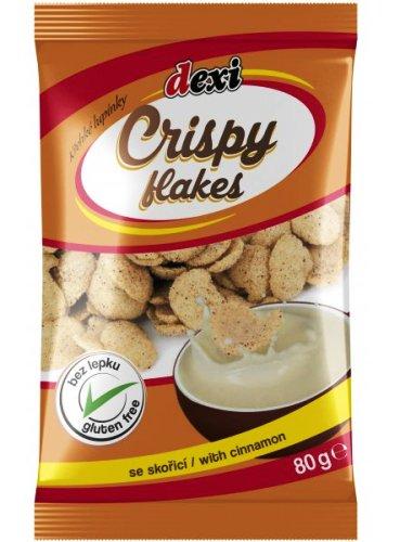 Crispy flakes křehké lupínky se skořicí pro bezlepkovou dietu, celiaky - výborné trvanlivé pečivo, extrudovaný výrobek.