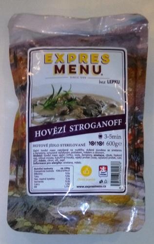 Hovězí Stroganoff bez lepku EXPRES MENU 600 g - sterilovaný hotový pokrm dvouporcový.
