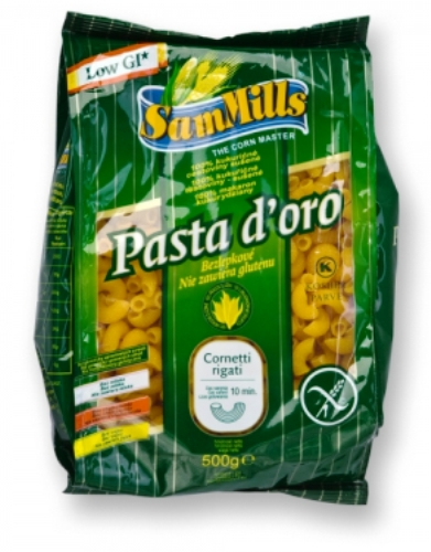 Kukuřičné těstoviny kolínka bezlepkové Sam Mills 500 g - těstoviny z nízkým glykemickým indexem.
