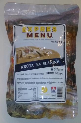 Krůta na slanině bez lepku EXPRES MENU 600 g - sterilovaný hotový pokrm.