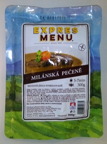 Milánská pečeně bez lepku EXPRES MENU 300 g - sterilovaný hotový pokrm.