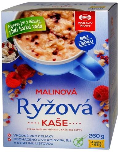 Rýžová kaše malinová vhodná pro celiaky, bezlepkovou dietu bez palmového tuku.