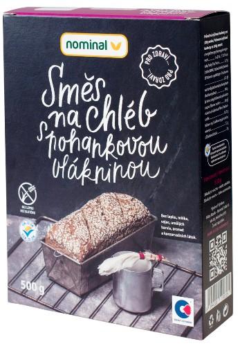 Směs na chléb s pohanovou vlákninou Nominal pro celiaky, bezlepkové pečení, bezlepkovou vlákninu.