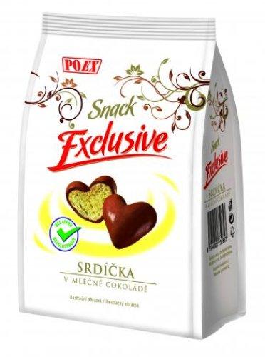 Srdíčka v mléčné čokoládě Exclusive bezlepkové pro bezlepkovou dietu, celiaky.