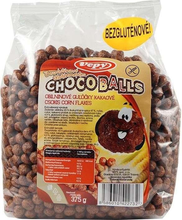 VEPY obilné kuličky kakaové bez lepku pro bezlepkovou dietu, celiaky - výborné a křupavé.