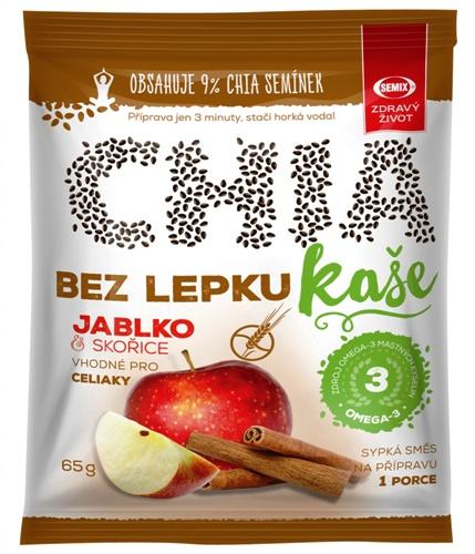 Chia kaše bez lepku jablko, skořice pro bezlepkovou dietu, celiaky - zdroj omega mastných kyselin, obsahuje 9% chia semínek.