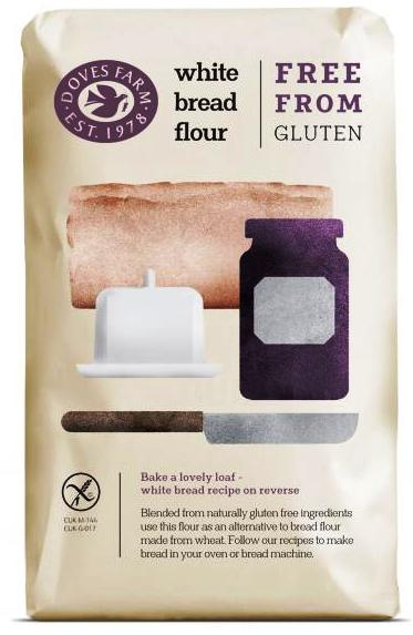 Chlebová směs bílá bez lepku DOVES FARM pro bezlepkovou dietu, celiaky. Je výborná na pečení chleba, pizzy.
