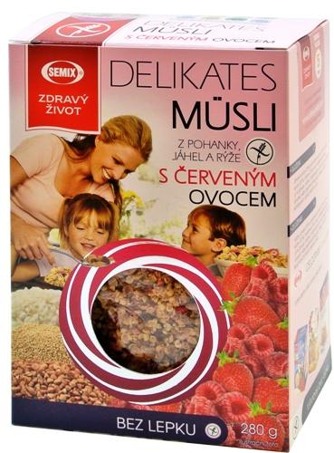 Příjemné lehké müsli bez přídavku tuku s lyofilizovaným červeným ovocem (sušeným mrazem).