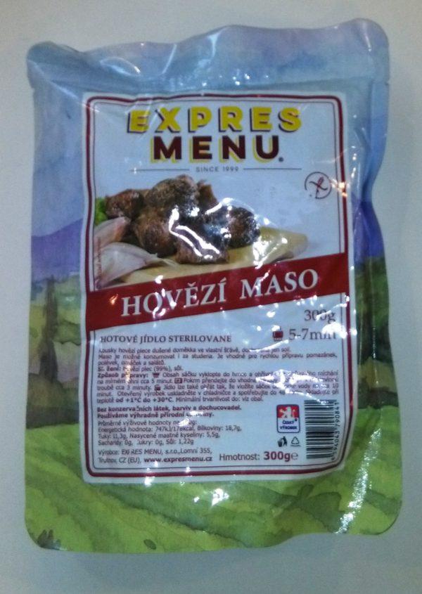 Hovězí maso bez lepku EXPRES MENU - sterilovaný hotový pokrm jednoporcový.