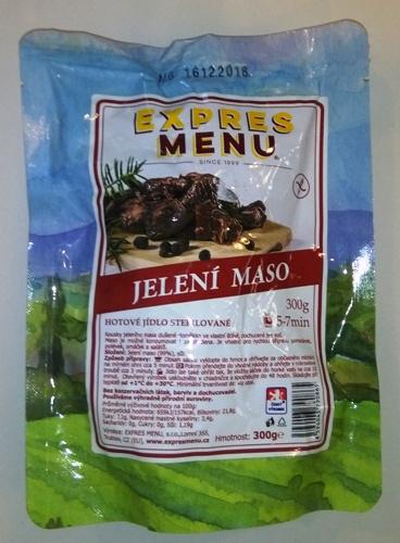 Jelení maso bez lepku EXPRES MENU - sterilovaný hotový pokrm.