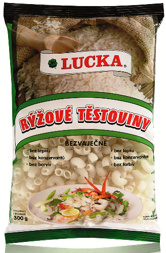 Rýžové těstoviny kolínka Lucka bezlepkové - výborné jako příloha, hlavní jídlo, do polévek, do salátů.