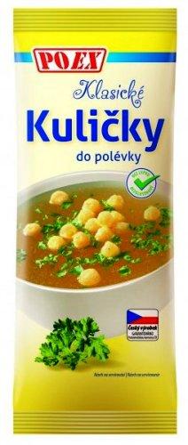 Klasické kuličky do polévky POEX bezlepkové 50 g pro bezlepkovou dietu, celiaky. Trvanlivé pečivo - extrudované kukuřičné křupky.