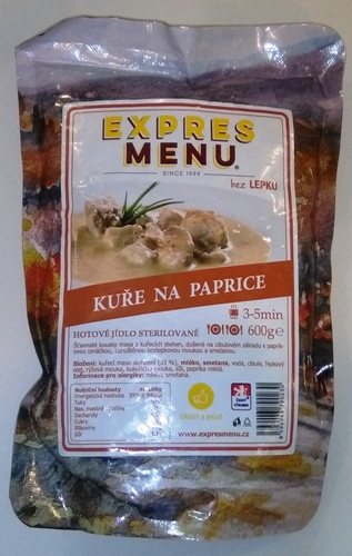 Kuře na paprice EXPRES MENU bez lepku - sterilované hotové jídlo.