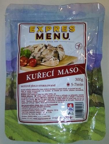 Kuřecí maso bez lepku EXPRES MENU 300 g - sterilovaný hotový produkt.