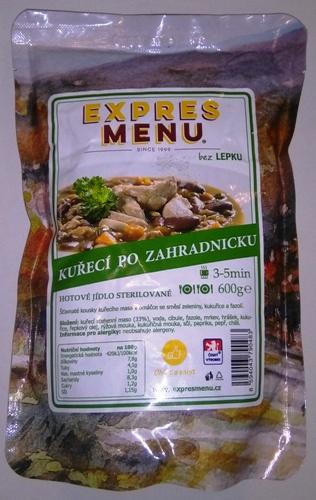 Kuřecí po zahradnicku bez lepku EXPRES MENU 600 g - sterilovaný hotový pokrm.