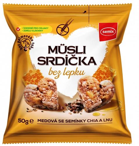 Müsli srdíčka bez lepku medová se semínky chia a lnu SEMIX 50g pro bezlepkovou dietu, celiaky. Výborná svačinka do tašky.