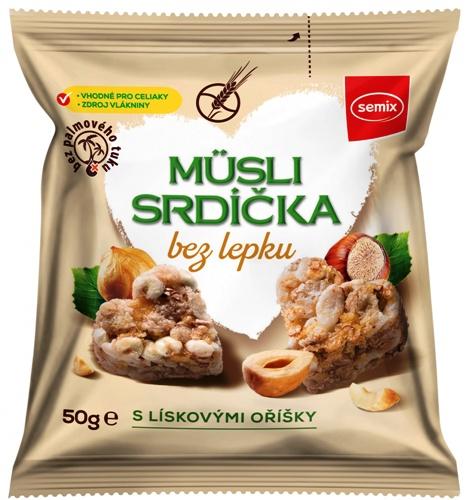 Müsli srdíčka bez lepku s lískovými oříšky SEMIX 50g pro bezlepkovou dietu, celiaky. Výborná svačinka do tašky.