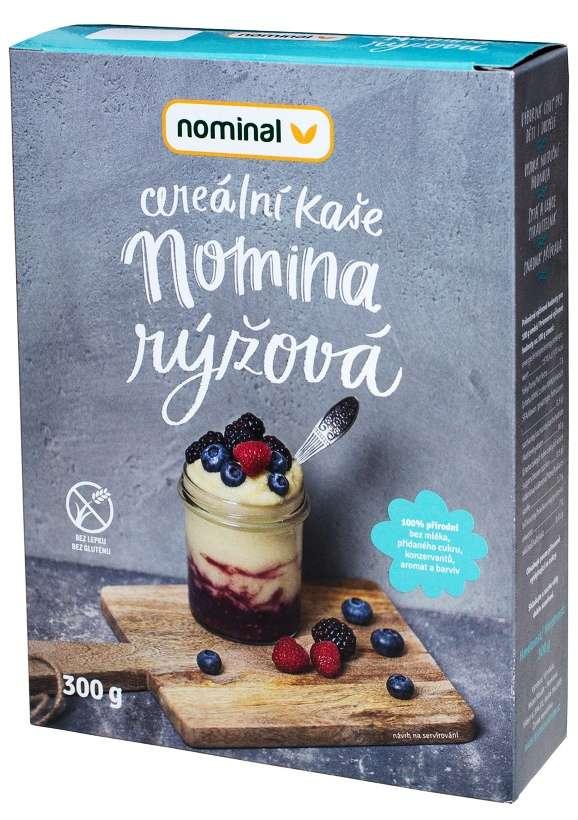 Bezlepková cereální kaše Nomina rýžová pro celiaky, bezlepkovou dietu.