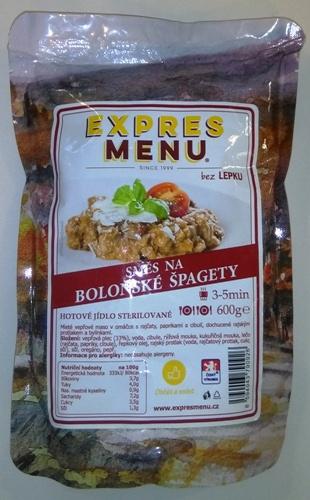 Směs na boloňské špagety bez lepku EXPRES MENU 600 g - sterilovaný hotový pokrm.