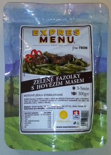 Zelené fazolky s hovězím masem EXPRES MENU bez lepku - sterilovaný pokrm.