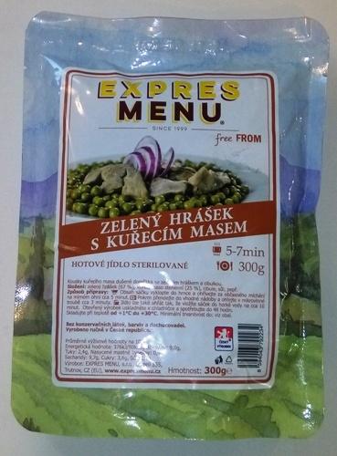 Zelený hrášek s kuřecím masem bez lepku EXPRES MENU 300 g - sterilovaný hotový pokrm.
